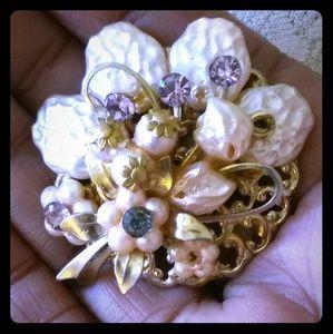 Vintage Jewelry - Vintage Faux Baroque Pearl & Rhinestone Earrings